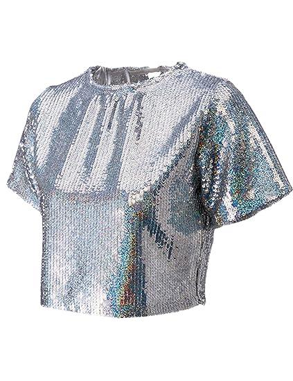3c9280d0d46d5 Amazon.com  LRT Women s Sequins Crop Top Backless Tank Top Tshirt ...