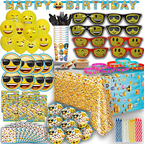 Ultimate Emoji Birthday Party Supplies for 8 - Plates, Cups, Napkins, Banner, Balloons, Sunglasses, Bracelets, Tattoos, Candles and - Computor Glasses
