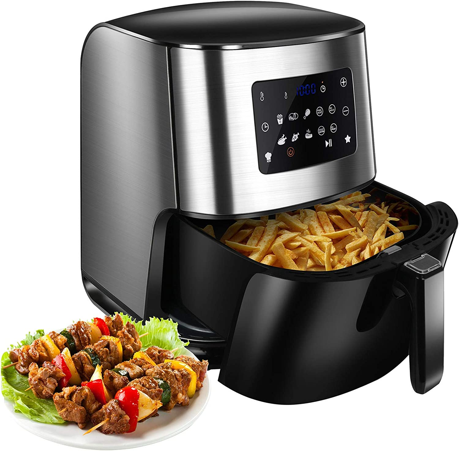HTNBO Air Fryer, 1700W 6.3 Qt Electric Hot Oven Oilless Cooker LED Digital Touchscreen for Roasting/Baking/Grilling/Dehydrating, 8 Presets, Timer & Auto Shut Off, Dishwasher-Safe, Recipe Book