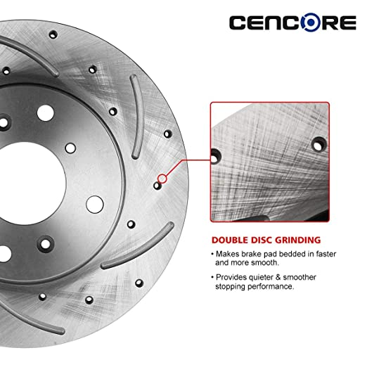 Front Drilled Slotted Brake Rotors /& Ceramic Pads /& Hub Bearing For Acura CL