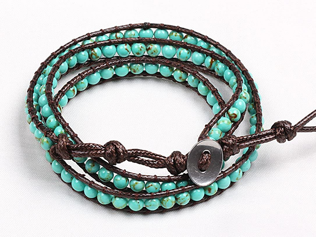 Turquoise Wrap Bracelet Handmade Brown Multilayer 4 Mm Fashion Woven Bangle Blupear BRW-CO81534