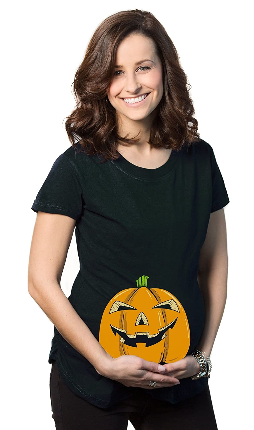 maternity smiling jack o lantern funny shirt halloween pregnancy t shirt at amazon womens clothing store