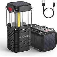 BUCASA Linterna Camping Solar, 2 Piezas USB Recargable Lampara De Camping Plegable Con Gancho, Ip65 Impermeable…