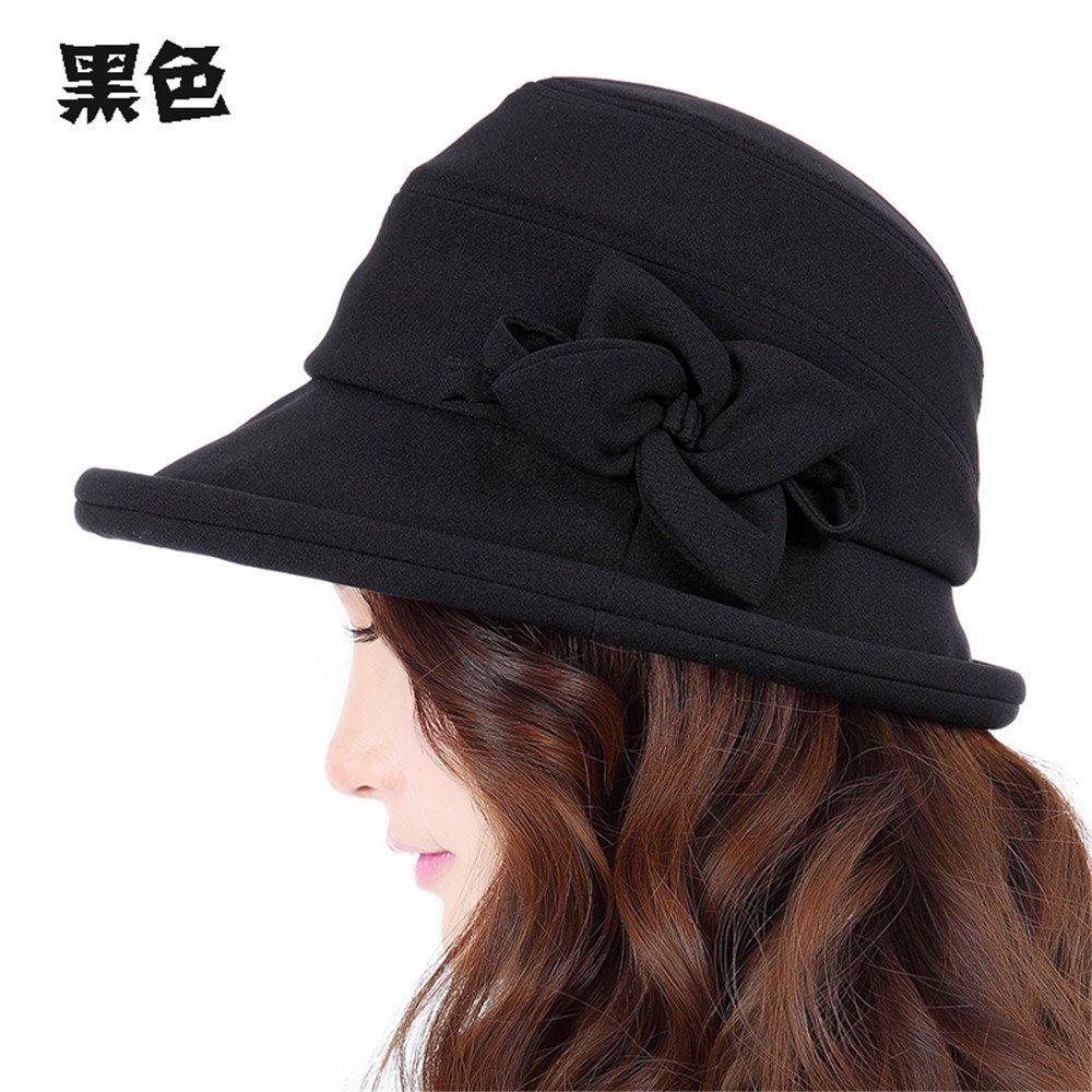 La mujer elegante sombrero de pescador, hembra ocio visor edge rollo, niños otoño al aire libre en verano sombrero Cuenca femenino,M (56-58cm) Reglamento de Sweat Band, negro