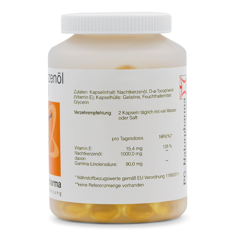 Aceite onagra perlas - 150 cápsulas con 500mg de aceite de onagra y con vitamina E (prensado en frío) - ácidos grasos omega-6 y ácido gamma-linolénico: ...