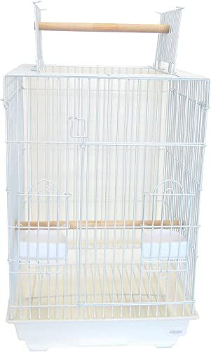YML 3 4-Inch Bar Spacing Open Top Small Parrot Cage, 18-Inch by 18 by 27-Inch, Top Closed, White