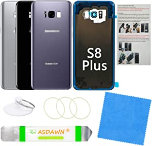 Galaxy S8+ Plus Back Glass Cover Replacement Housing Door with Pre-Installed Camera Lens +Installation Manual +All The Adhesive +Repair Tools for Samsung Galaxy S8+ SM-G955 All Carriers (Orchid Gray)