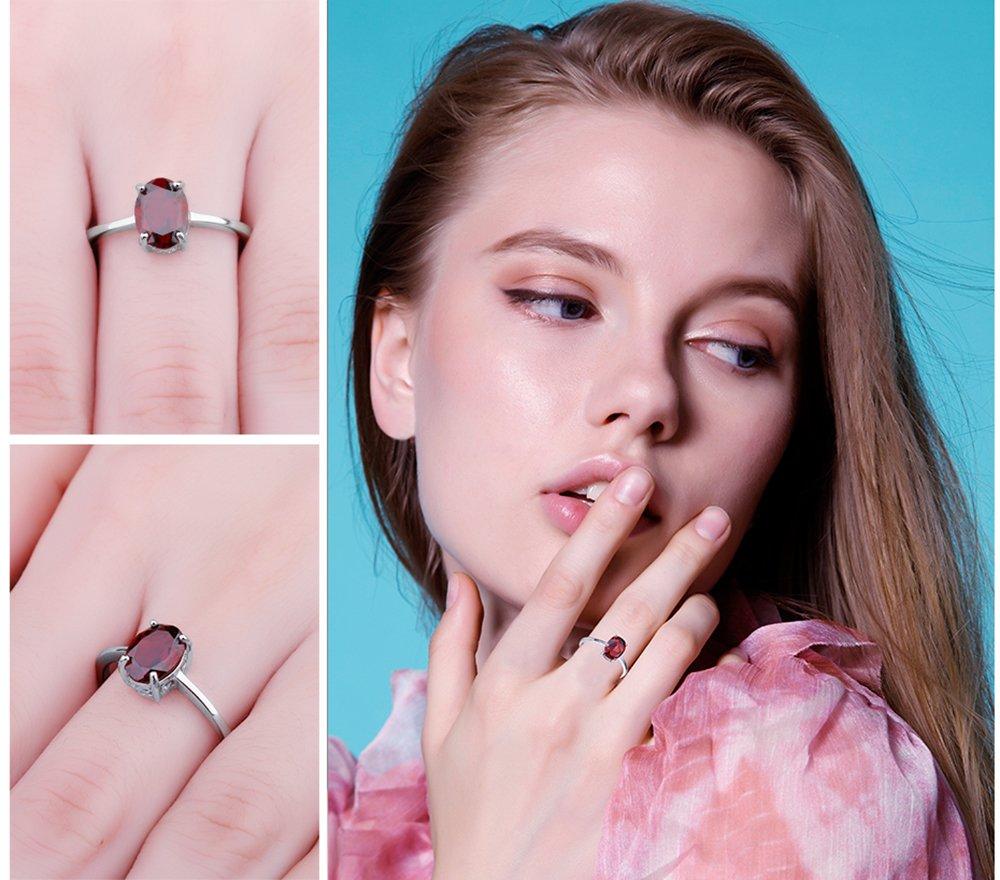 JewelryPalace Ring Argent 925 Femme Pierre Naturel de Mariage Alliance Fiancaille Soiree Fashion Simple EU-156P6JR