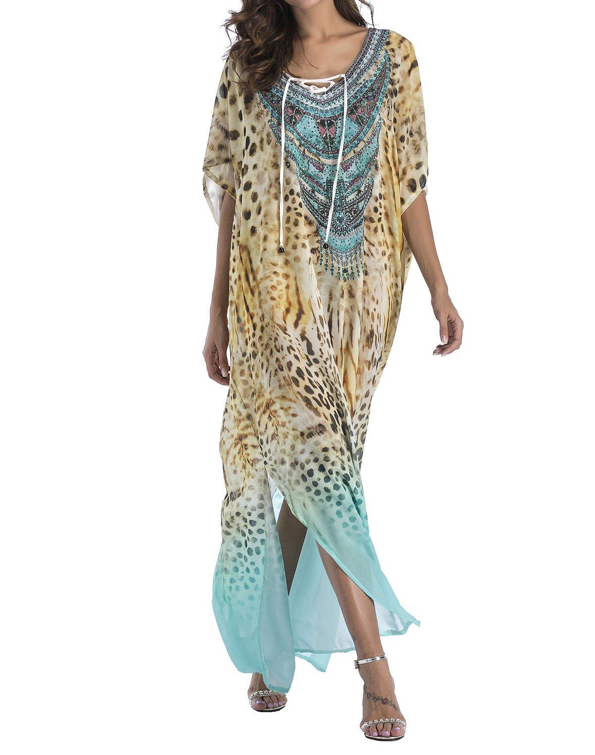 Pamor Flowy Rhinestone Long Caftan Beach Maxi Dress Sexy Cover Up For Women (style8)