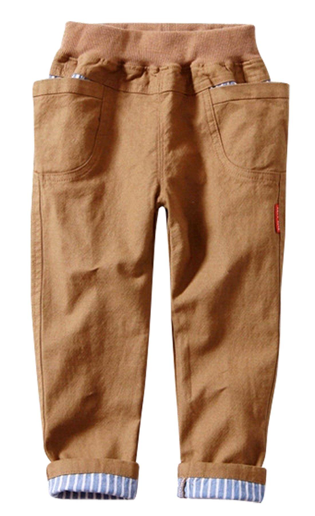 Aivtalk Boys Cotton Pants Lightweight Hand Pockets High Elastic Waistband Bottoms Shorts 4-5T Khaki