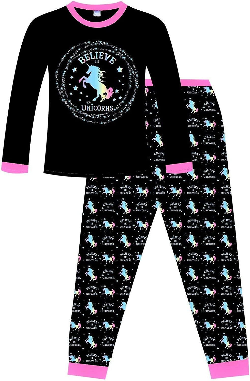 Believe in Unicorns Long Girls Rainbow Star Cotton Pyjamas