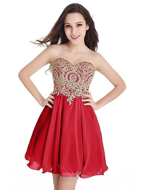 Babyonlinedress Vestido Largo de Novia Vestido Rojo Estilo Elegante y A Line Cuello Redondo Espalda de
