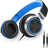 AILIHEN C8 Headphones with Microphone and Volume Control for Cellphones Tablets Android Smartphones Laptop Computer Mp3/4 (Black/Blue)