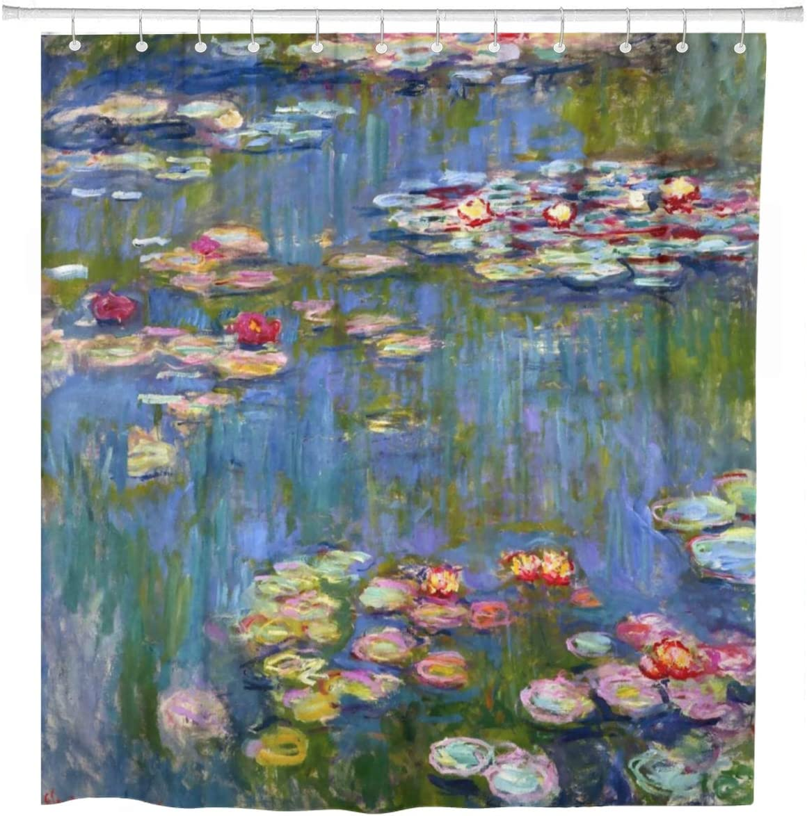 ArtSocket Shower Curtain Waterlilies Water Lilies 1916 Lilly Lillies Claude Monet Masterpiece Home Bathroom Decor Polyester Fabric Waterproof 72 x 72 Inches Set with Hooks