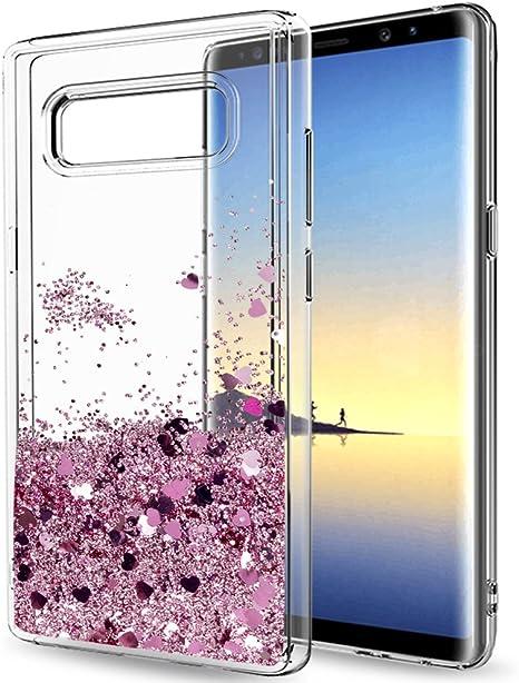 LeYi Funda Samsung Galaxy Note 8 Silicona Purpurina Carcasa con HD Protectores de Pantalla,Transparente Cristal Bumper Telefono Gel TPU Fundas Case Cover para Movil Samsung Galaxy Note 8 ZX Oro Rosa: Amazon.es: