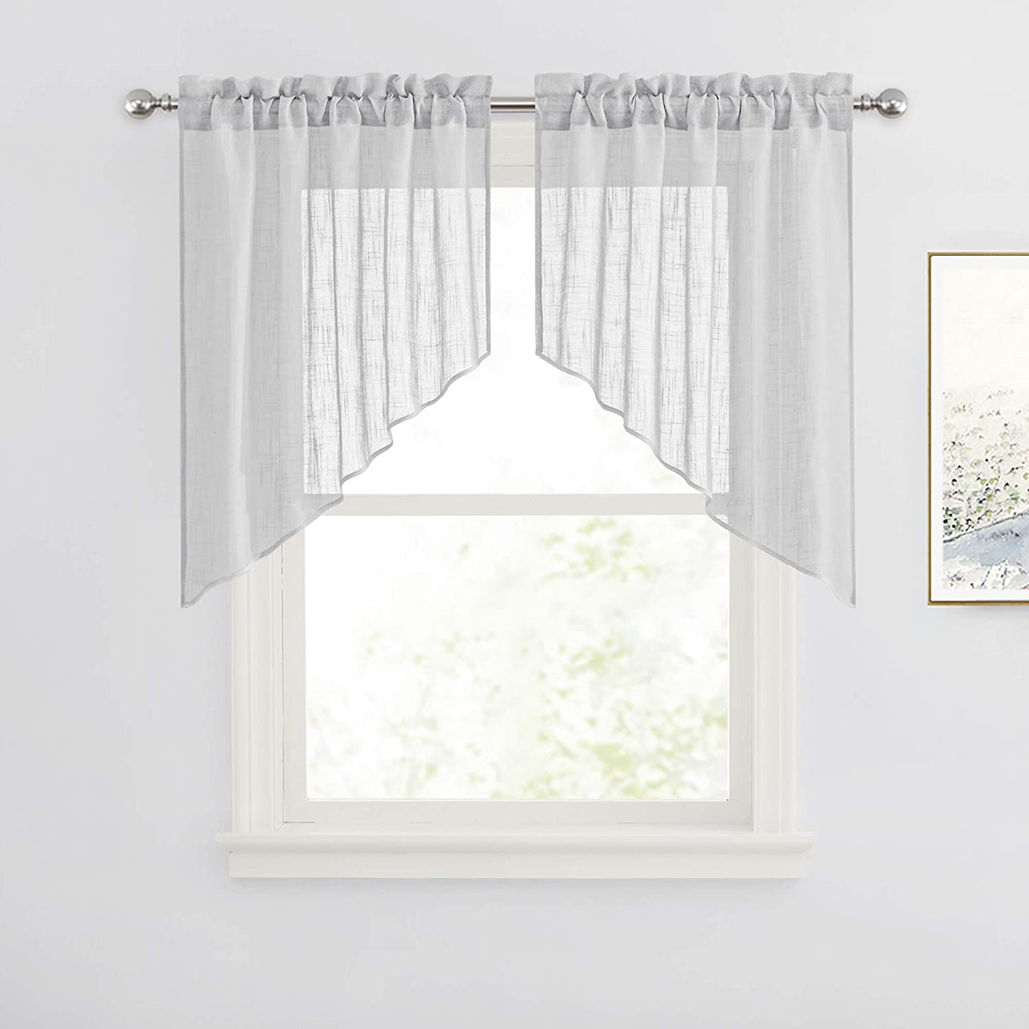 Great Gift Table Linen Curtain Panel White Silver Grey Black Leaves Modern House Decor Cafe Curtain Kitchen Valance Curtains Window Treatments Home Living Deshpandefoundationindia Org