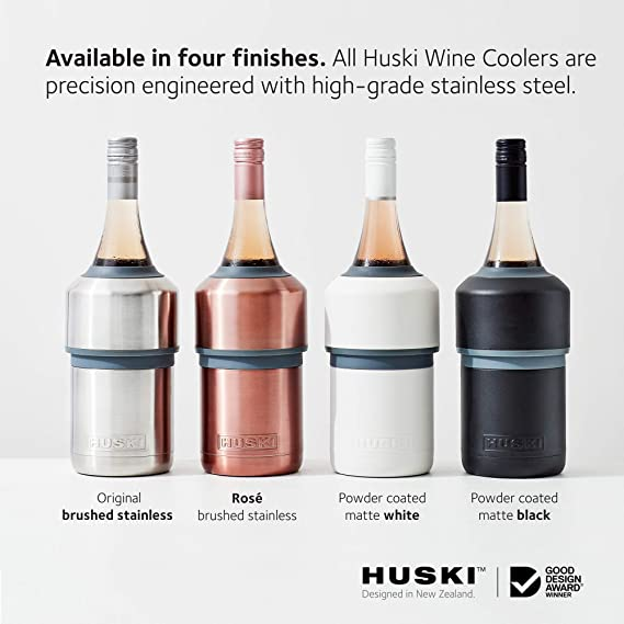Fits Some Champagne Bottles Perfect Gift for Wine Lovers New Wine Accessory Keeps Wine Cold up to 6 Hours White Premium Iceless Wine Chiller Award Winning Design Huski Wine Cooler