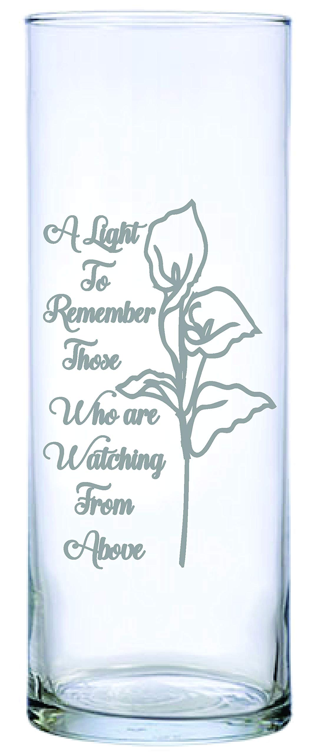 IE Laserware Traditional Lily Design Etched on This Beautiful Memorial Candle.