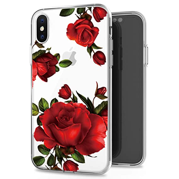 sports shoes 2e15b 00a73 JAHOLAN iPhone X Case iPhone Xs Case Cute Girl Floral Design Clear TPU Soft  Slim Flexible Silicone Cover Phone Case Compatible with iPhone X iPhone Xs  ...