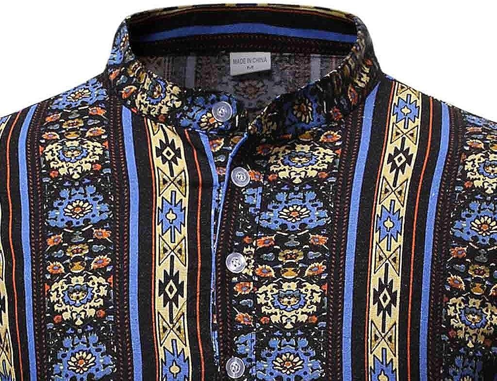LHWY Camisa de Hombre Blusa étnica de Manga Larga con ...