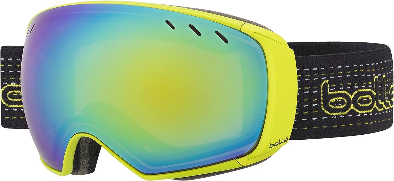 Bolle Virtuose Adult Snow Snowmobile Goggles Eyewear - Black & Lime Green Emerald/Lemon Gun/Large
