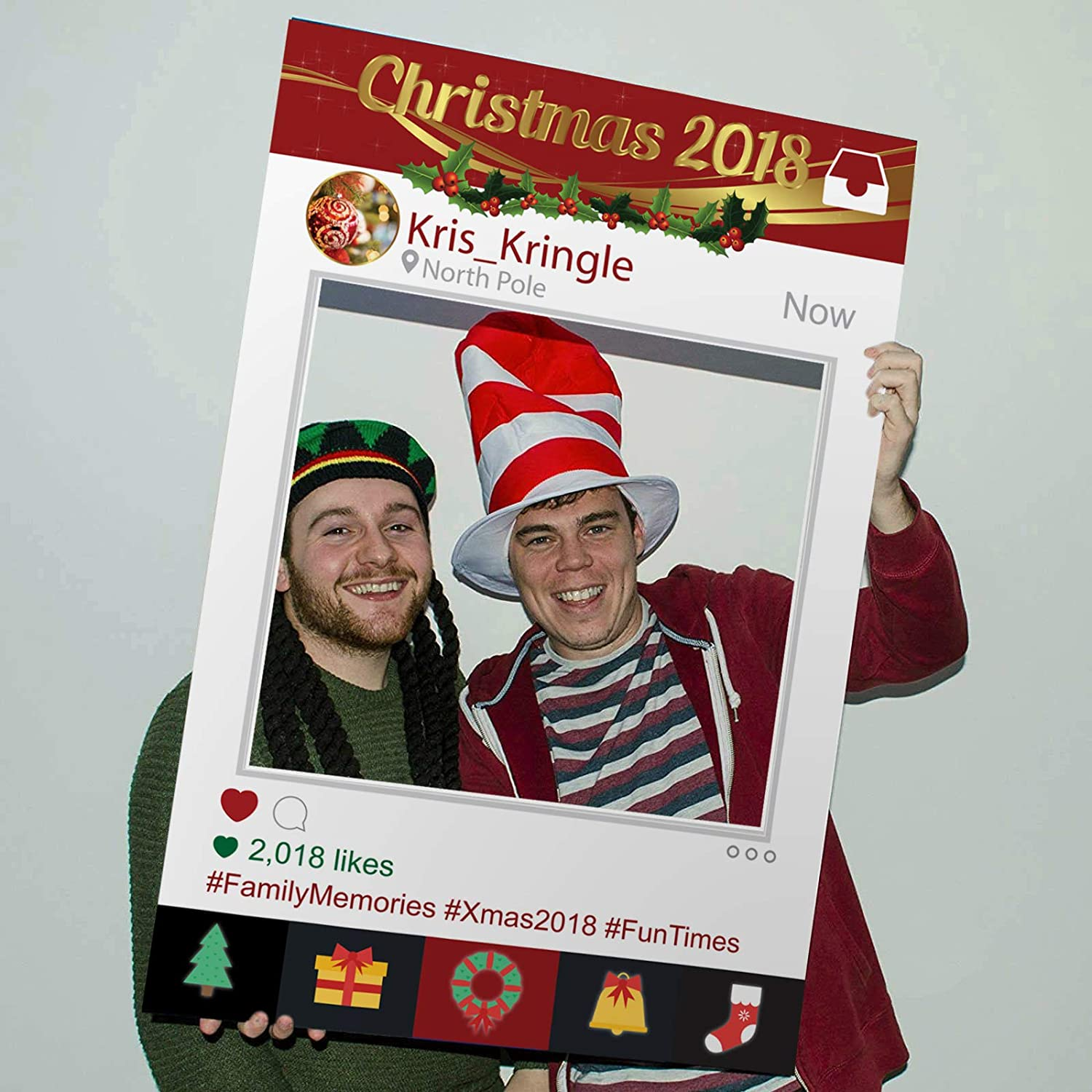 Instagram Photo Prop Cut Out Xmas Instaframe Selfie Board Frame Christmas Party