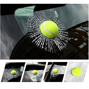 Finefun 3d car stickers funny auto car styling ball hits car body window sticker self adhesive