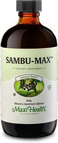 Maxi Health Kosher Sambu-Max Sambucus Elderberry Syrup Supplement 8 fl. oz. Immune System Booster Pure