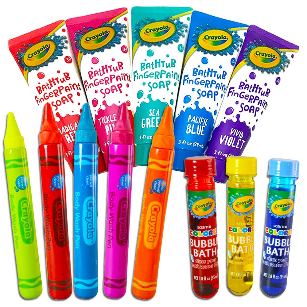 Crayola Bath Super Set - 5 Crayola Bath Paint Soap Tubes 6 Bath Pens 3 Bubble Bath Tubes (14 Pc Set) Crayola Bath Fingerpaint