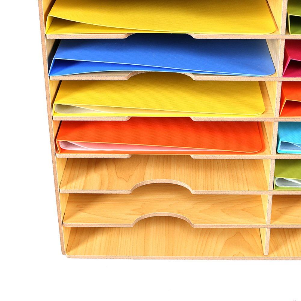 Wood magazine holder, Desktop storage rack File rack Desktop stationery storage box Books stand File folders Simple Houseware Office supplies-Beige 51.5x32.5x49cm(20x13x19inch) by Wayer (Image #2)