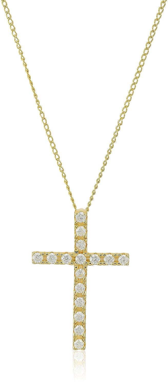 Sterling Silver and Swarovski Zirconia Cross Pendant Necklace, 18' 22361513
