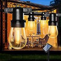 Lichtsnoer op zonne energie voor Buiten, Bomcosy S14 solar lichtsnoer buiten, 8M/12 LEDs, IP65 Waterdicht Lichtketting…