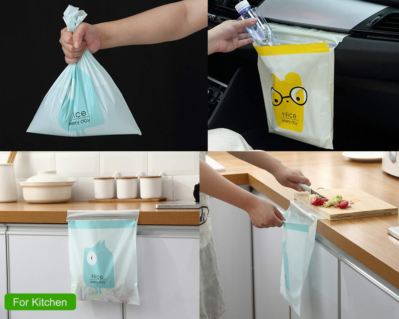 Biodegradable /& Compostable Garbage Bag Rubbish Bin Bag Car Trash Bin Gag Disposable Container Bag for Office Babyroom Bathroom Study Room Blue Cartoon, 30pcs Car Trash Bag
