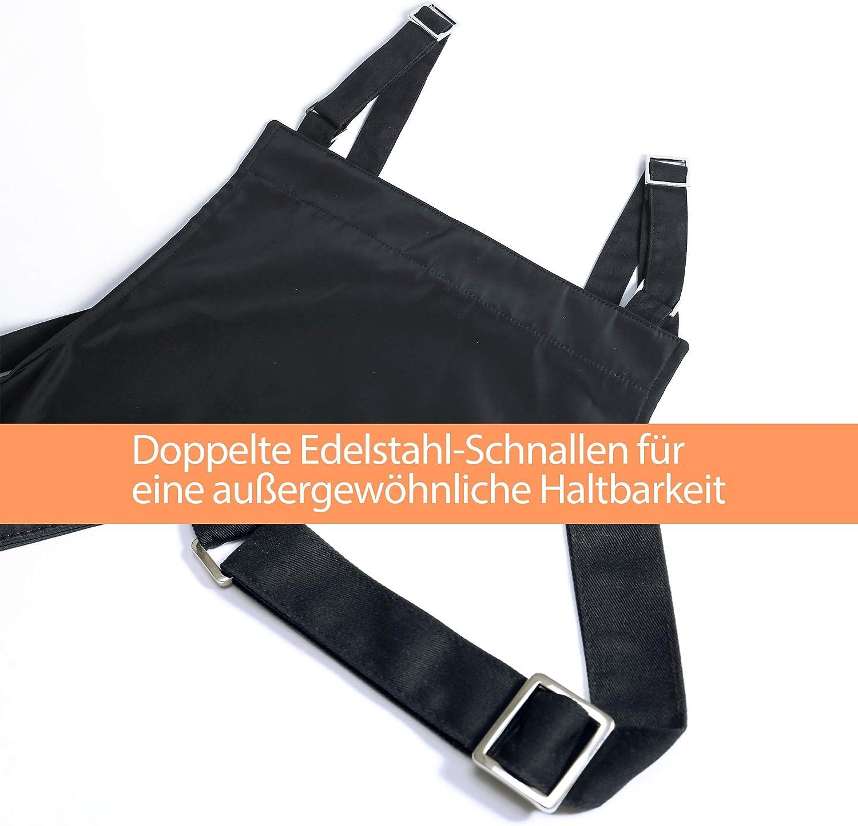 schwarz K/üchensch/ürze mit verstellbare Schultergurte MONDZUCKER wasserdicht Sch/ürze Kochsch/ürze mit 2 gro/ßen Taschen