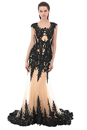 Annies Bridal Crystals Beaded Lace Mermaid Evening Dresses Tulle Sweep Train Prom Dresses For Women Formal