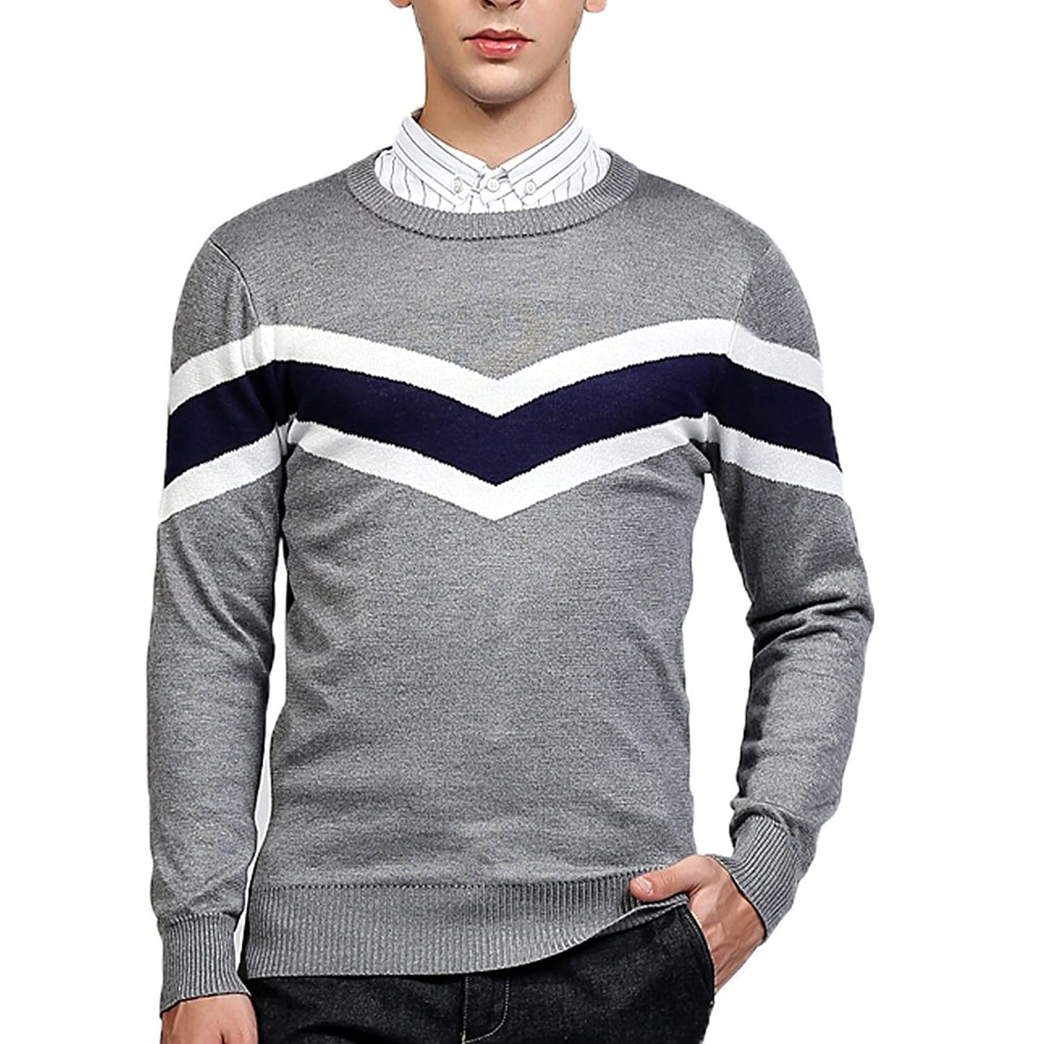 Men's Fine Gauge Knit Slim Fit Casual Pullover Sweaters Tops