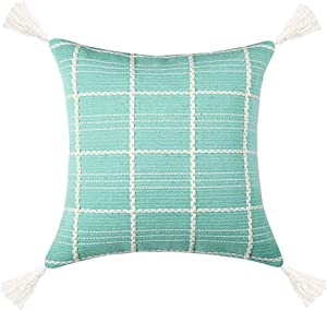 Hckot Woven Boho Throw Pillow Covers 18X18 Inch Bohemian Plaid Tufted Pillow Cases Modern Decor Square Pillows Cover for Couch Accent Pillows(Green)