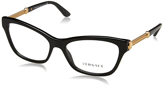 Amazon.com: Versace VE3214 Eyeglass Frames GB1-52 - Black VE3214-GB1 ...