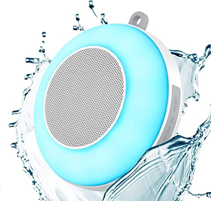 Waterproof Bluetooth Speaker, Portable Shower Speaker Night Light, Stereo  Sound and Deep Bass & Coloful Atmosphere Touch Control Lights, Mini  Wireless