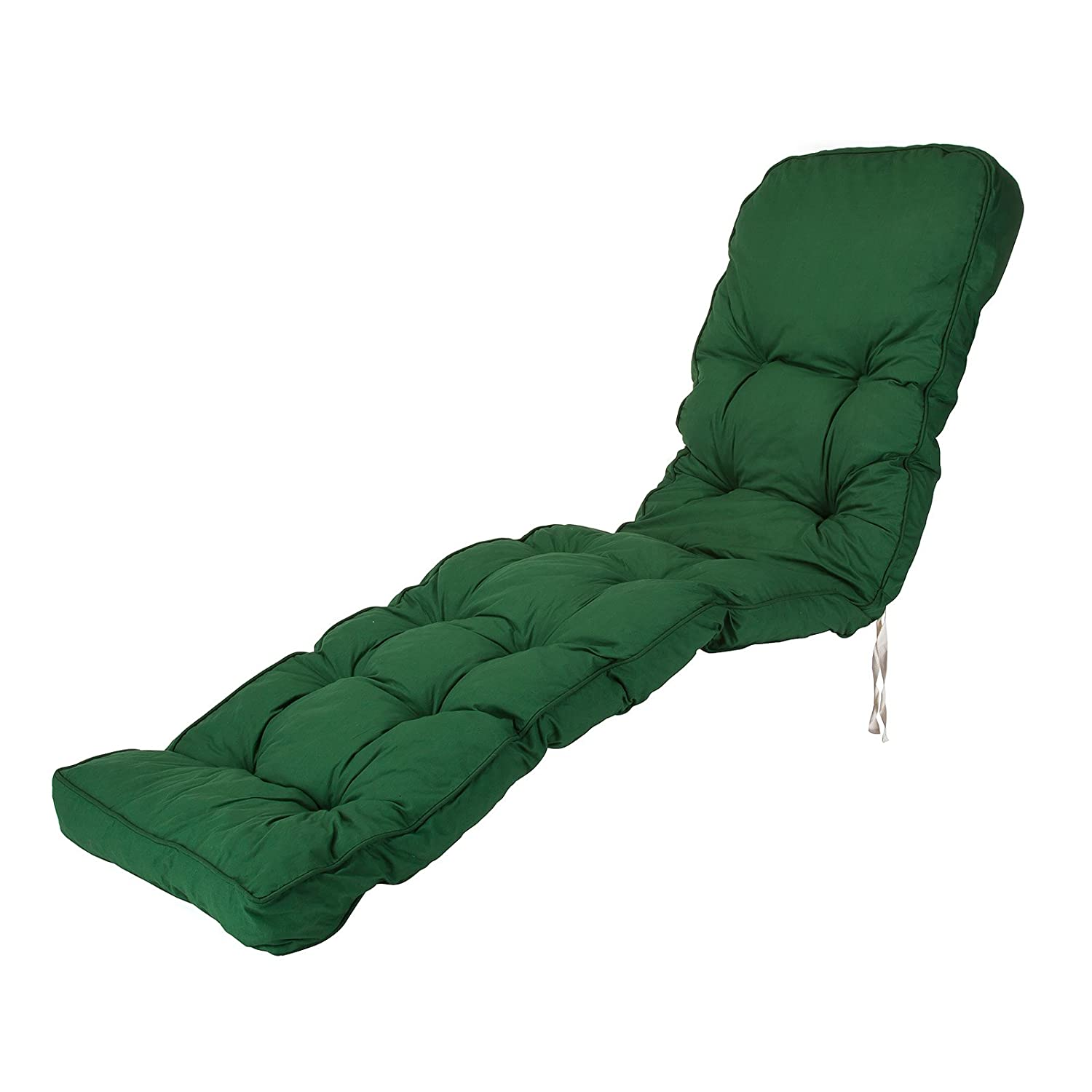 Replacement Classic Outdoor Garden Sun Lounger Chair Cushion - Choice of Prints (Green) Alfresia