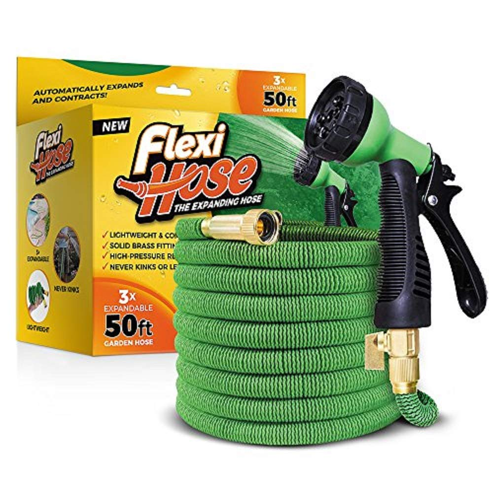 FlexiHose Upgraded Expandable Garden Hose, Extra Strength, 3/4'' Solid Brass Fittings - The Ultimate No-Kink Flexible Water Hose, 8 Function Spray Included (Green)