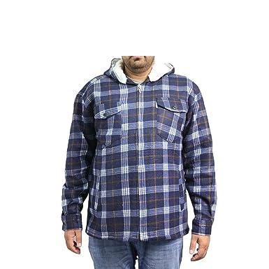 54ed2a1216b Mens Fleece Padded Lumberjack Hooded Jacket Fur Lined Sherpa Winter  Workwear (2XL