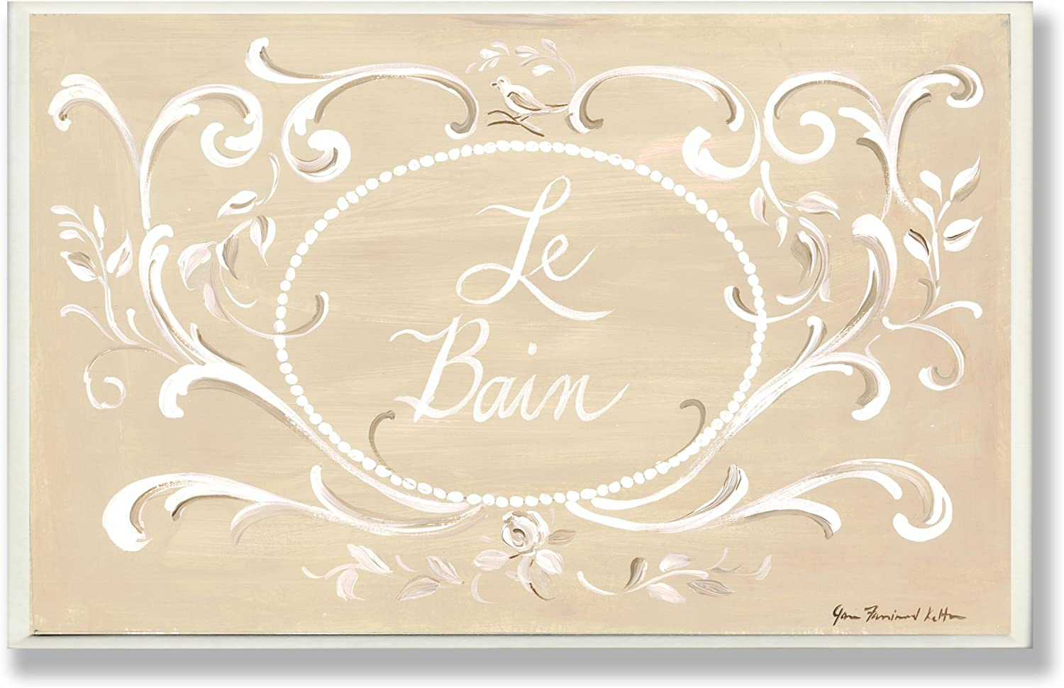 The Stupell Home Decor Collection Tan with White Scroll La Bain Bathroom Wall Plaque