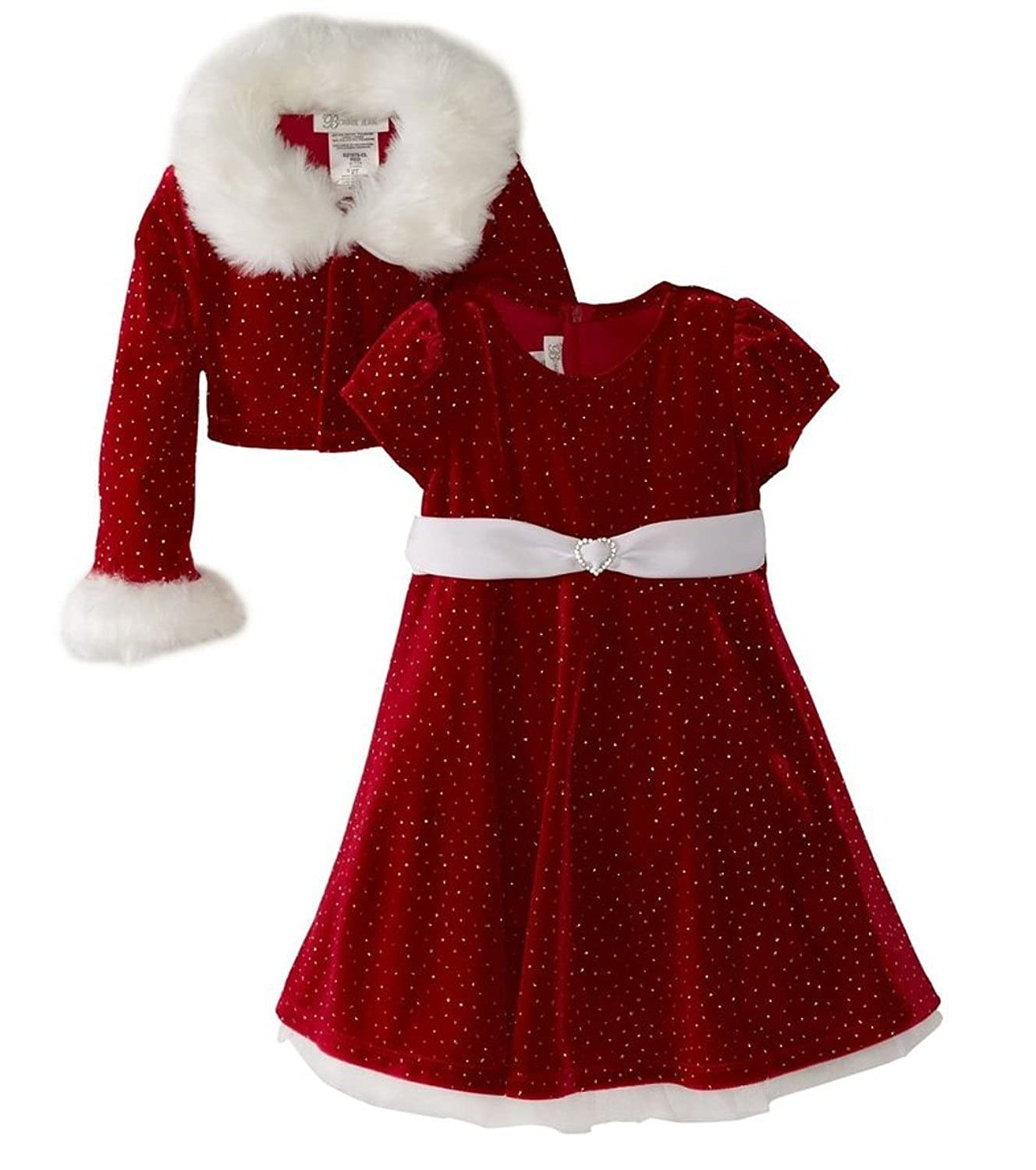 amazoncom bonnie jean girls christmas dress velvet sparkle dress with jacket clothing - Girl Christmas Dresses