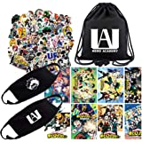 My Hero Academia Gift Set for Fans, 1Pack My Hero Academia Drawstring Bag Backpack| 73Pcs Anime My Hero Academia Stickers| 8Pcs My Hero Academia Poster, 2Pcs Facemask