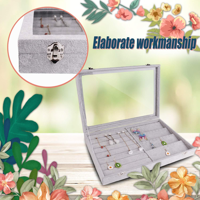 Elegant Choise Glass Top Velvet Necklace Ring Jewelry Display Storage Organizer Showcase Earring Rings Lockable EC™