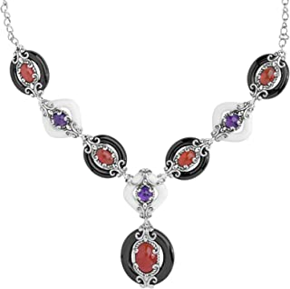 product image for Carolyn Pollack Sterling Silver Gemstone 8-Link Y Necklace 17 to 21 Inch