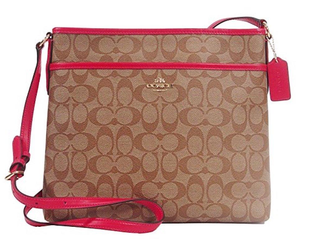 Coach Signature File Crossbody Shoulder Bag Khaki/Bright Pink