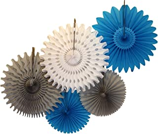 product image for Devra Party 5-Piece Tissue Paper Fans, Turquoise White Gray