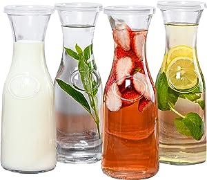 Estilo Glass Beverage Pitcher Carafe With Plastic Lids, Narrow Neck Design, 1 liter-Set of 4, Clear